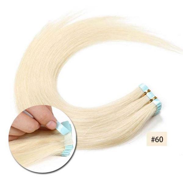 Vlasy k prodloužení TAPE IN - délka 40 cm, odstín 60 - platinová blond