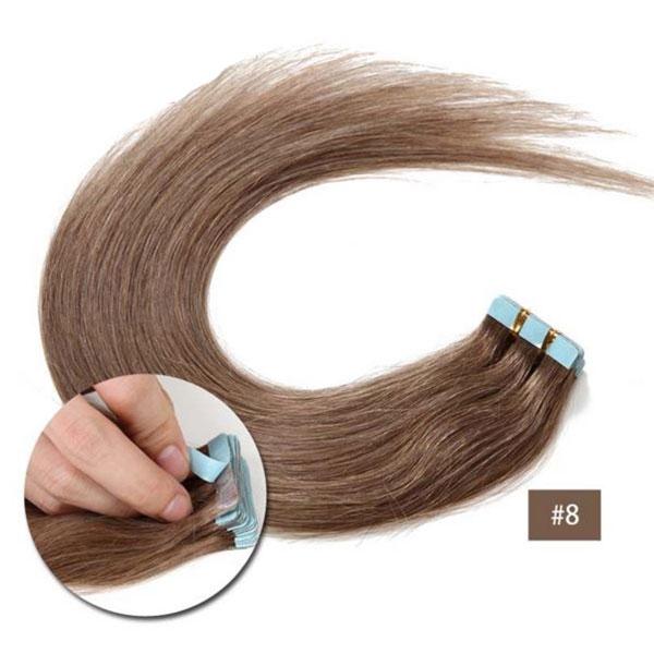 Vlasy k prodloužení TAPE IN - délka 45 cm, odstín 8 - světle hnědá