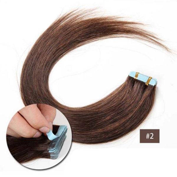 Vlasy k prodloužení TAPE IN - délka 55 cm, odstín 2 - černohnědá