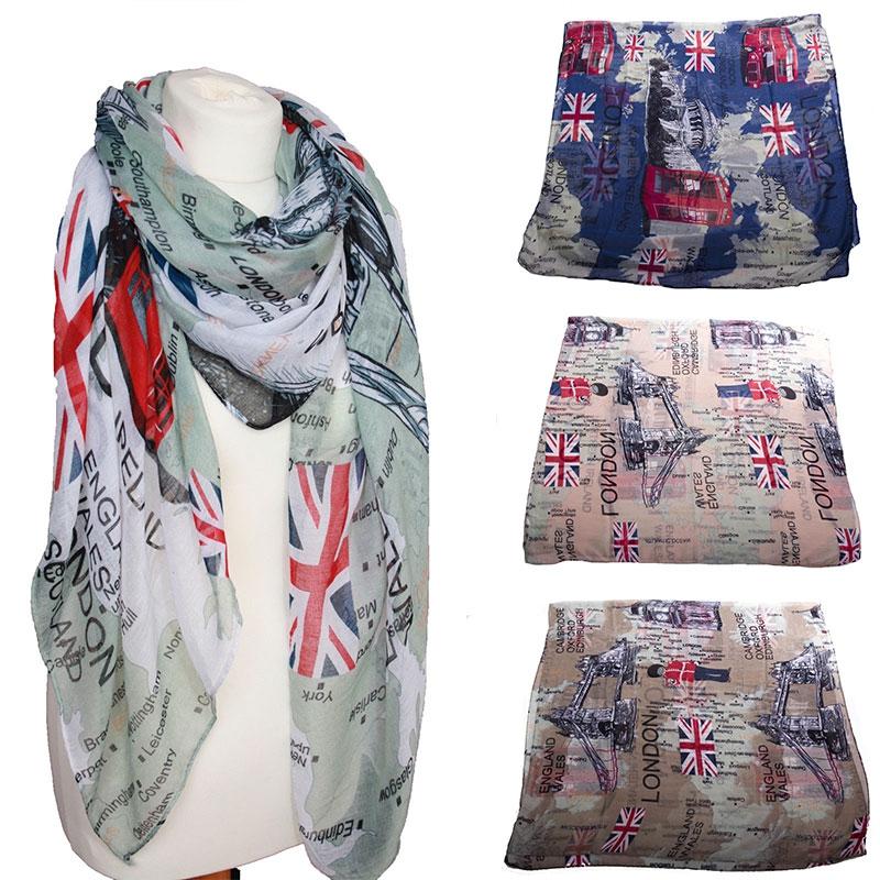 Dámský šátek London - bílý podklad