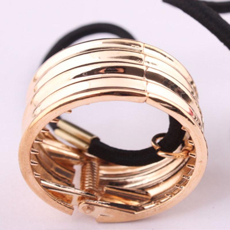 Kovová spona do vlasů - zvlněný obojek - zlatá barva