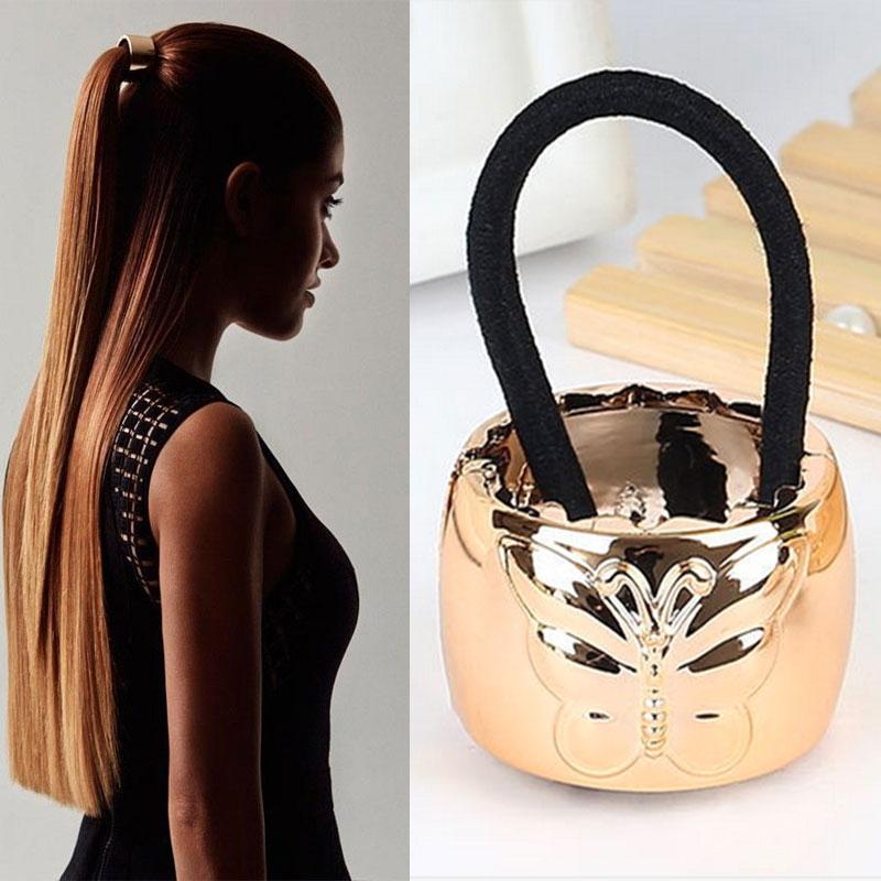 Kovová spona do vlasů s motýlkem - zlatá
