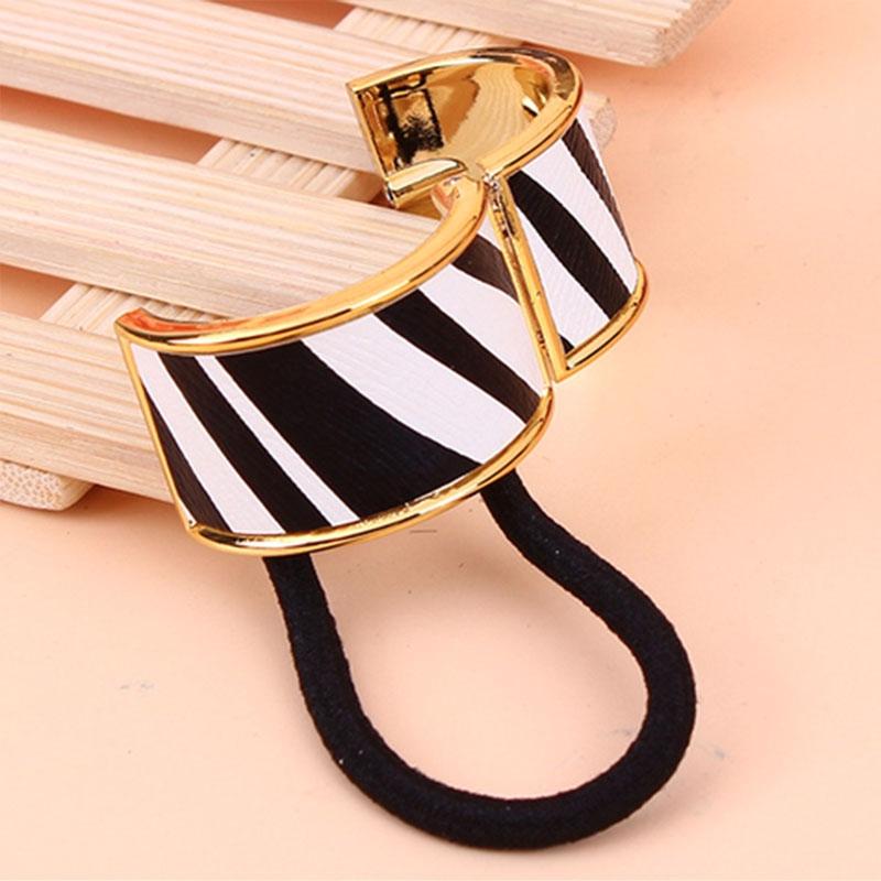 Kovová spona do vlasů - obojek mramor - zebra