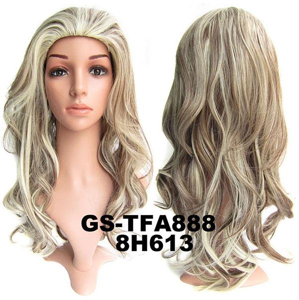 Poloparuka - 3/4 paruka zvlněná TFA - H8/613 (melír světle hnědé a beach blond)