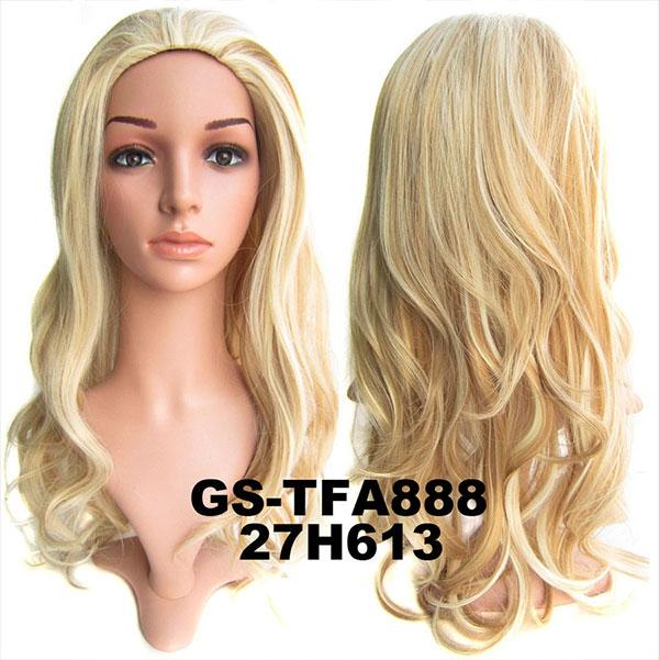 Poloparuka - 3/4 paruka zvlněná TFA - H27/613 (melír karamelové a beach blond)