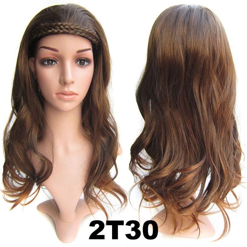 Poloparuka - 3/4 paruka s čelenkou z pletených vlasů - odstín 2 T 30