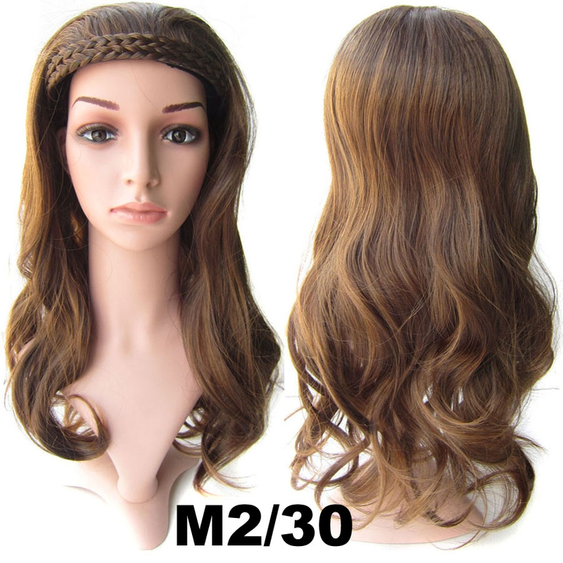 Poloparuka - 3/4 paruka s čelenkou z pletených vlasů - M2/30 (mix tmavá pralinka/světlý kaštan)