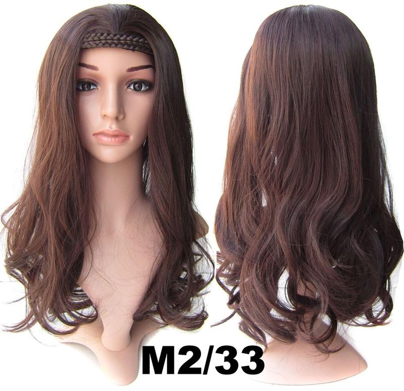 Poloparuka - 3/4 paruka s čelenkou z pletených vlasů - M2/33 (mix tmavá pralinka/tmavý kaštan)