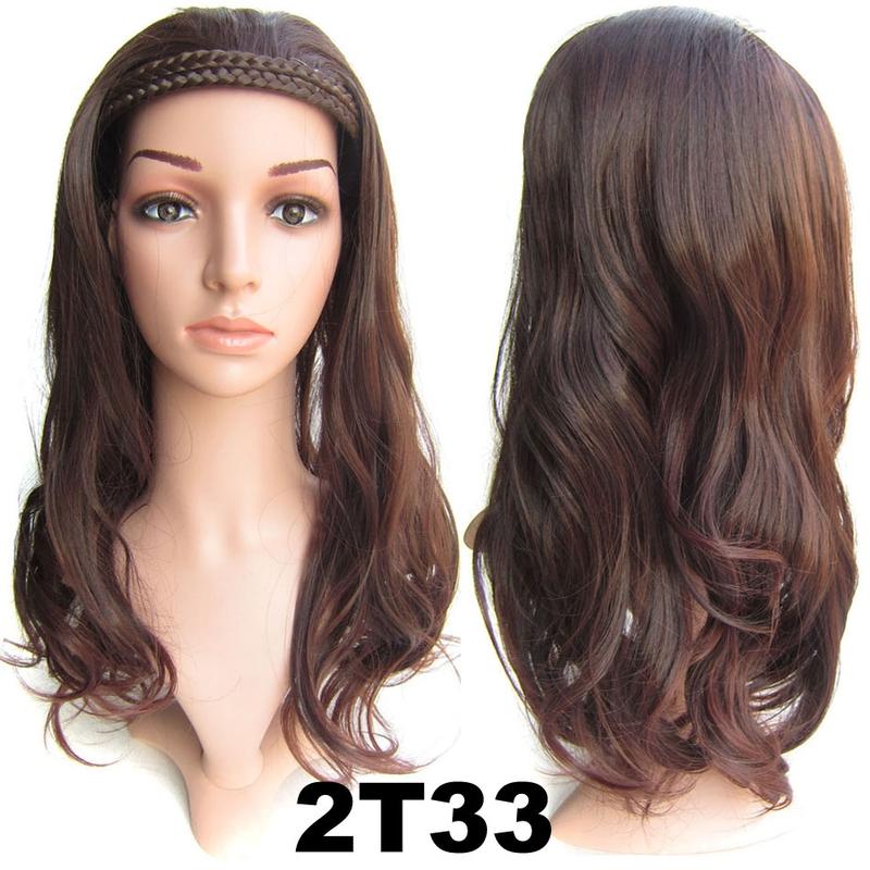 Poloparuka - 3/4 paruka s čelenkou z pletených vlasů - odstín 2 T 33