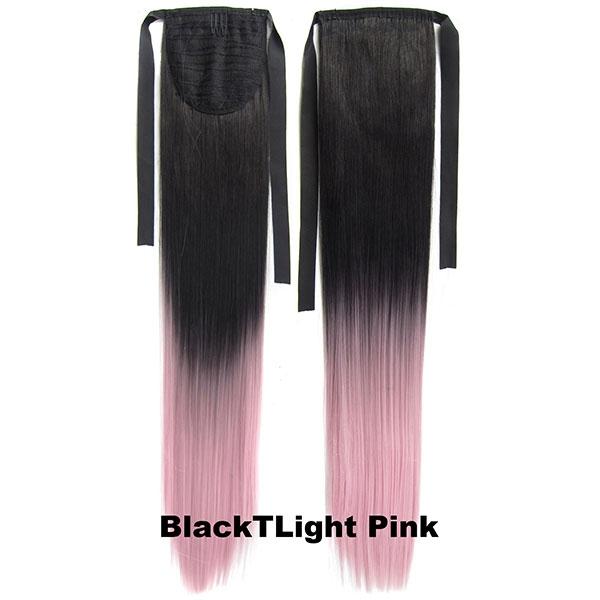 Culík, cop rovný na zavazování 57 cm - ombre styl - odstín Black T Light Pink
