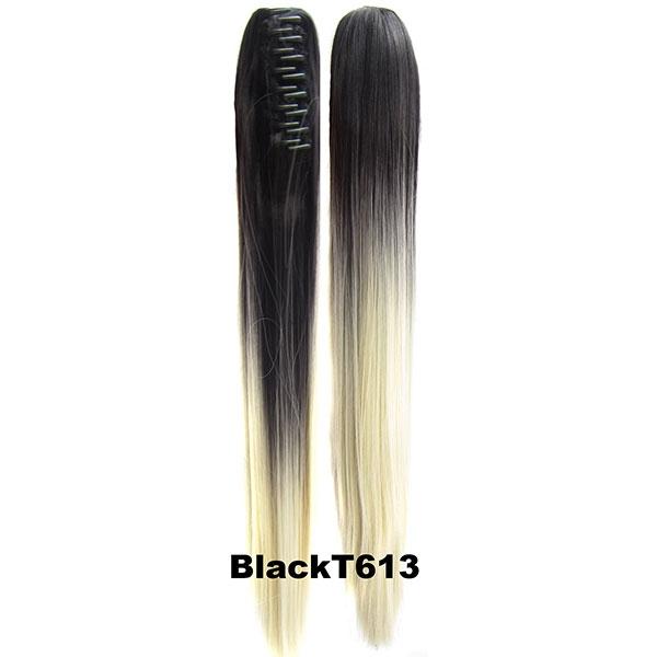 Culík, cop na skřipci - rovný 60 cm - Ombre styl - odstín Black T 613