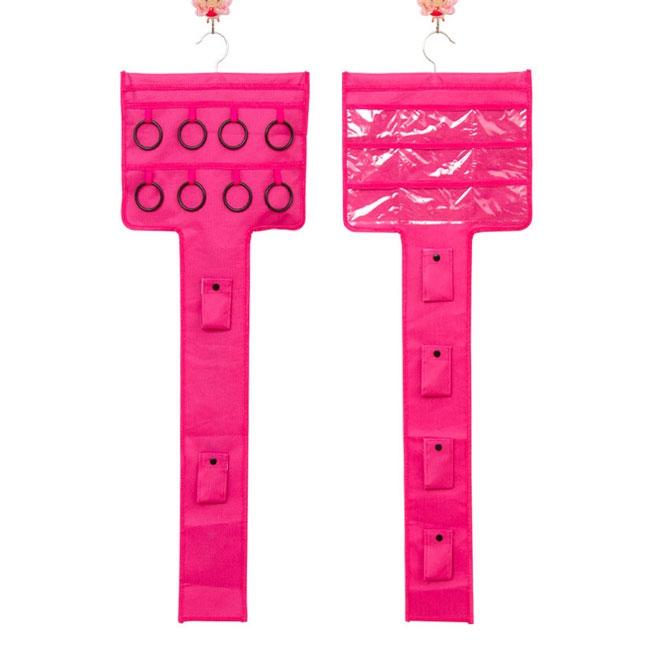 Závěsný organizér na šperky, šátky a kabelky - růžová barva