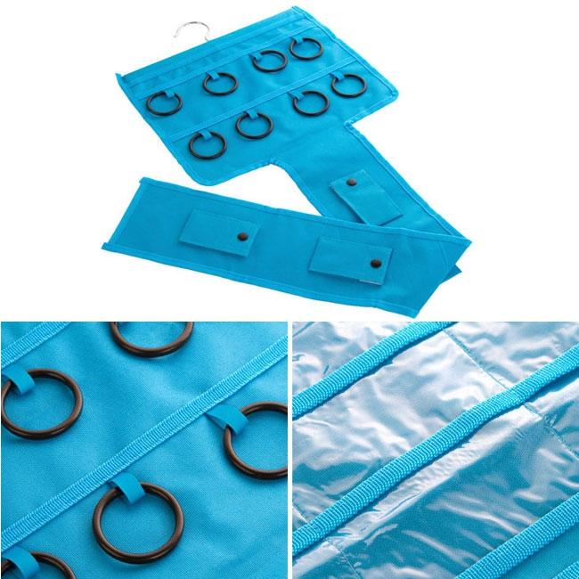 Závěsný organizér na šperky, šátky a kabelky - modrá barva