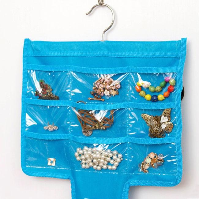 V&V Závěsný organizér na šperky, šátky a kabelky - modrá barva