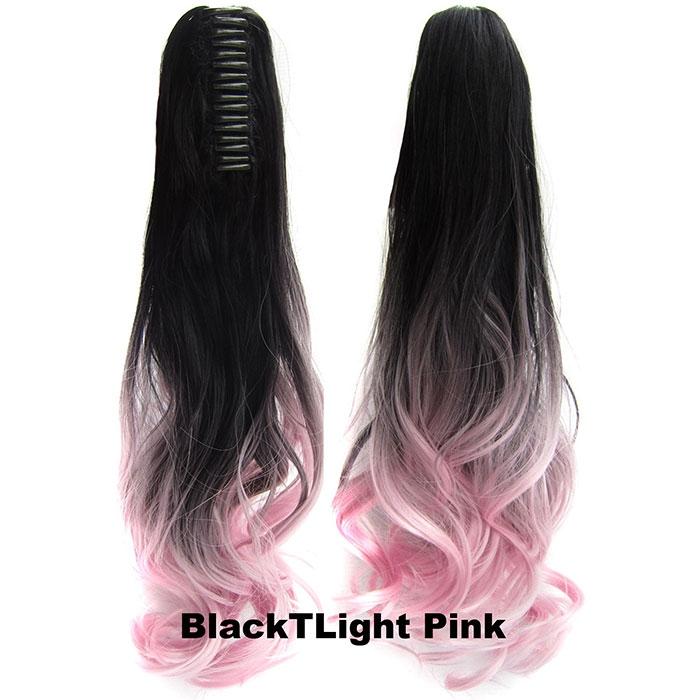 Culík, cop na skřipci - vlnitý 55 cm - Ombre styl - odstín Black T Light Pink