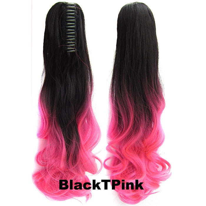 Culík, cop na skřipci - vlnitý 55 cm - Ombre styl - odstín Black T Pink