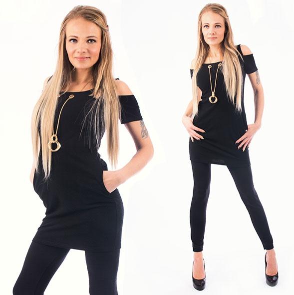 V&V Dámské šaty s kapsami a náhrdelníkem NECKLACE - černé - L / XL