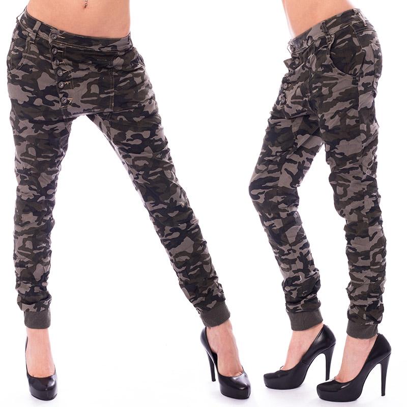 Dámské krčené kalhoty Army Baggy jeans - velikost 27