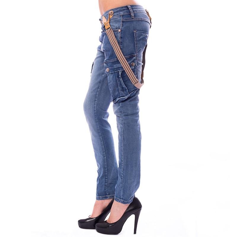 Dámské jeans kapsáče s kšandami - velikost S