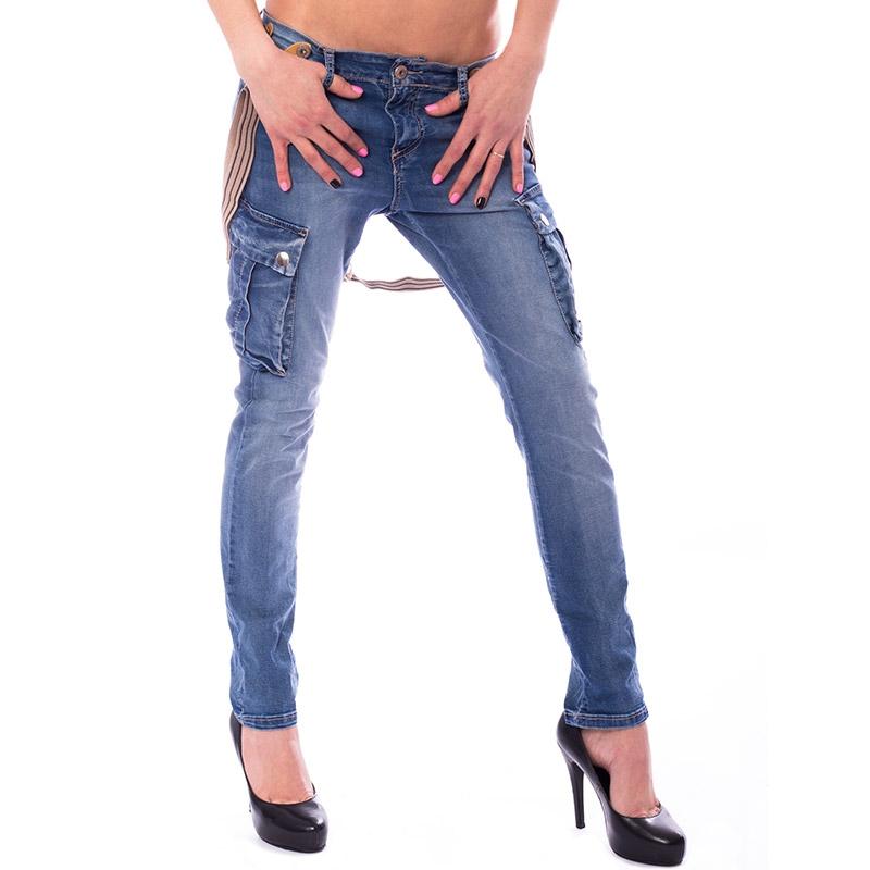Dámské jeans kapsáče s kšandami - velikost XL