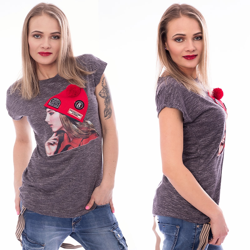 V&V Dámské tričko s módní aplikací CAP - tmavě šedé - L / XL