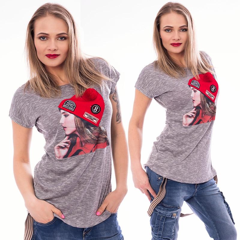 V&V Dámské tričko s módní aplikací CAP - světle šedé - L / XL