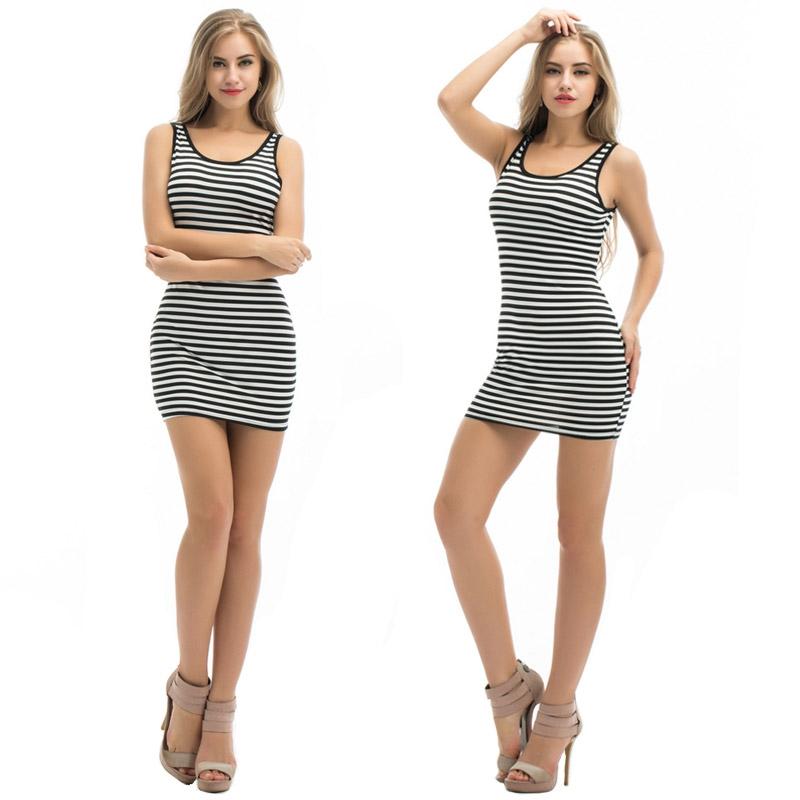 Dámské letní mini šaty s proužkem - L