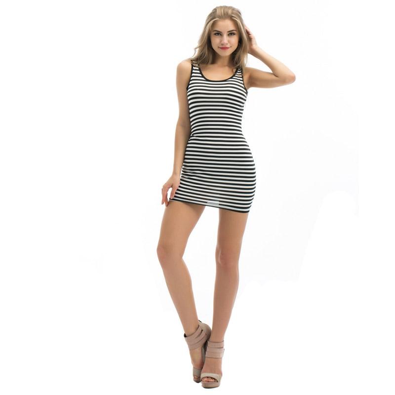 ... Dámská móda a doplňky - Dámské letní mini šaty s proužkem ... 0013df9178