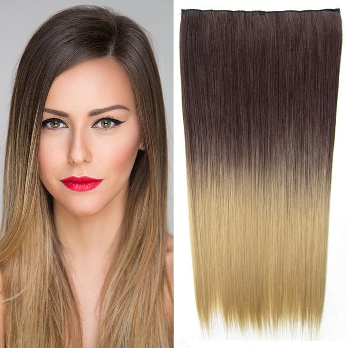 Světové zboží Clip in vlasy - 60 cm dlouhý pás vlasů - ombre styl - odstín 4 T 24 - odstín 4 T 24