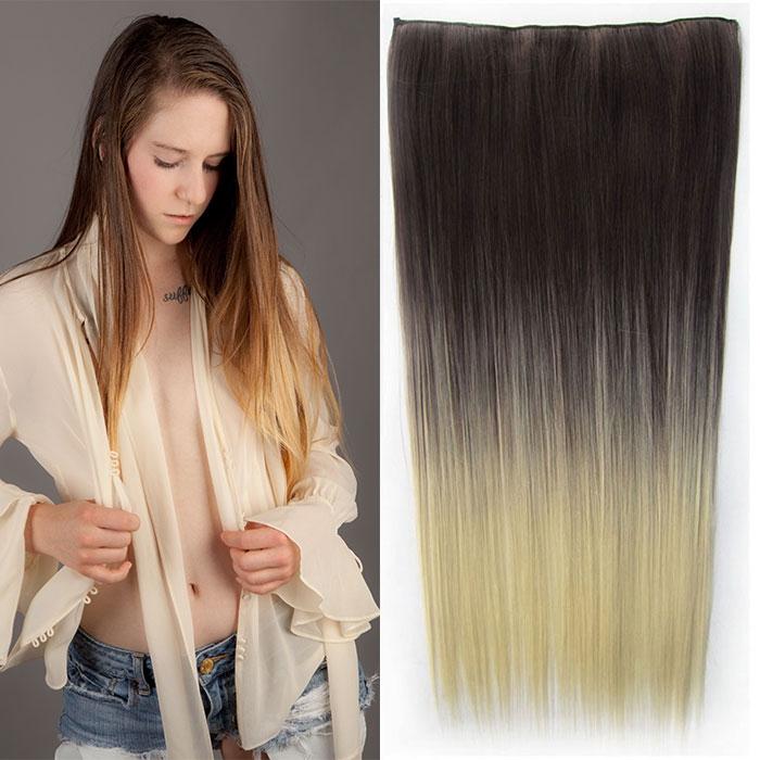 Clip in vlasy - 60 cm dlouhý pás vlasů - ombre styl - odstín 4 T 613