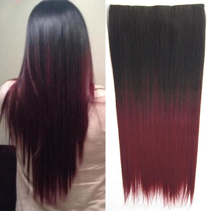 Světové zboží Clip in vlasy - 60 cm dlouhý pás vlasů - ombre styl - odstín 2 T 99J - odstín 2 T 99J