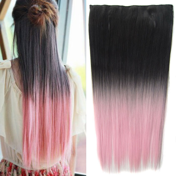 Clip in vlasy - 60 cm dlouhý pás vlasů - ombre styl - odstín Black T Light Pink