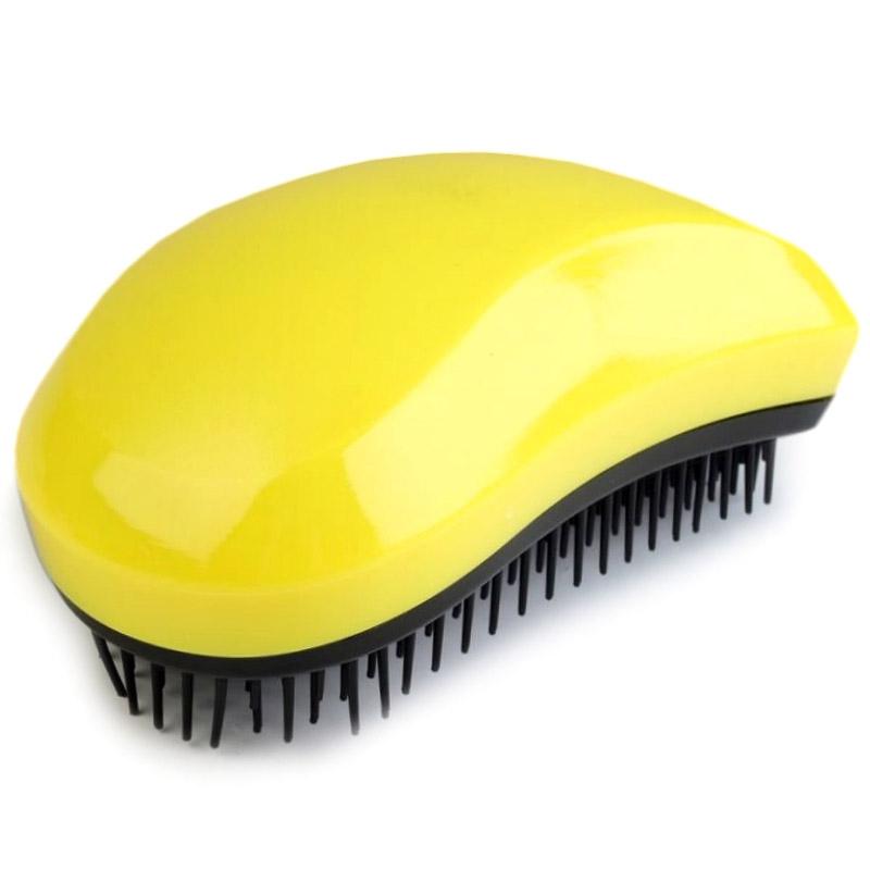 Rozčesávací kartáč na vlasy - žlutá barva