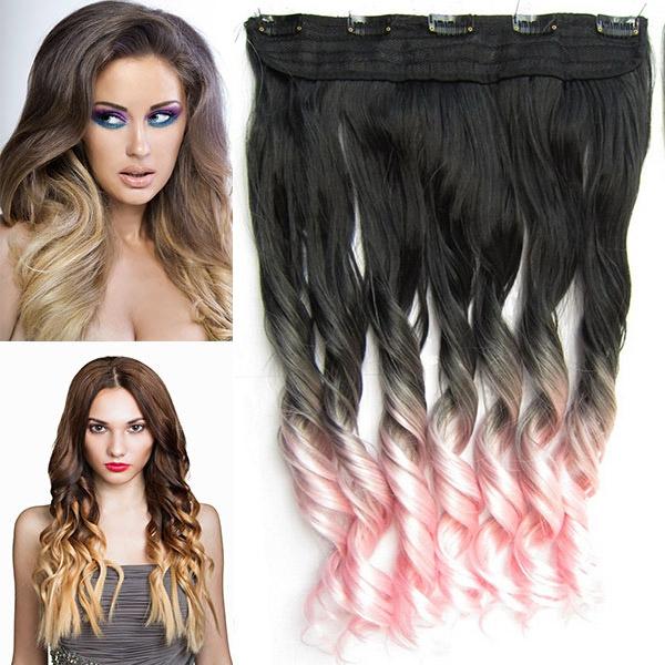 Clip in pás vlasů - lokny 55 cm - ombre - odstín Black T Light Pink