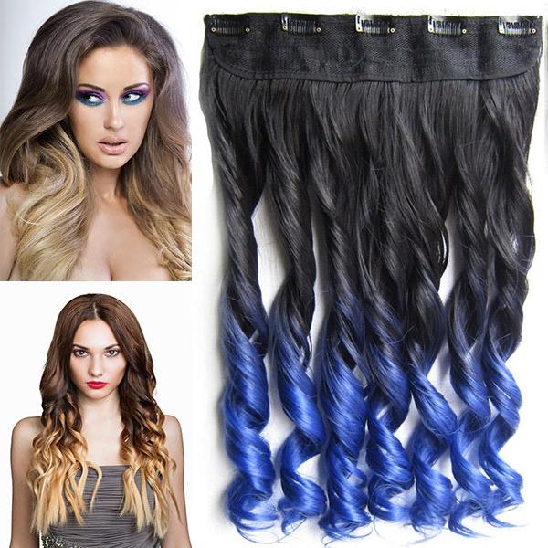 Clip in pás vlasů - lokny 55 cm - ombre - odstín Black T Blue