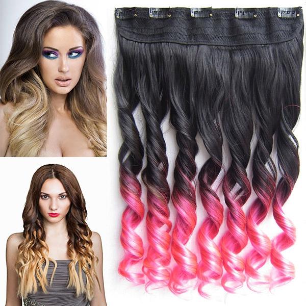 Clip in pás vlasů - lokny 55 cm - ombre - odstín Black T Pink