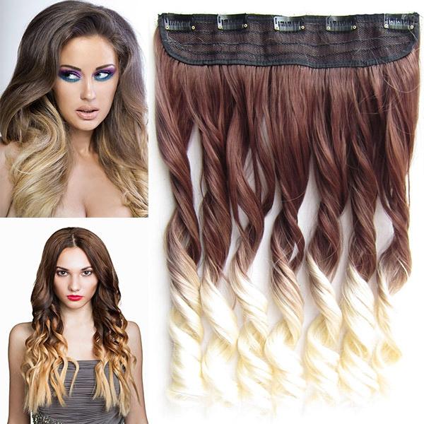 Clip in pás vlasů - lokny 55 cm - ombre - odstín 6 T 613