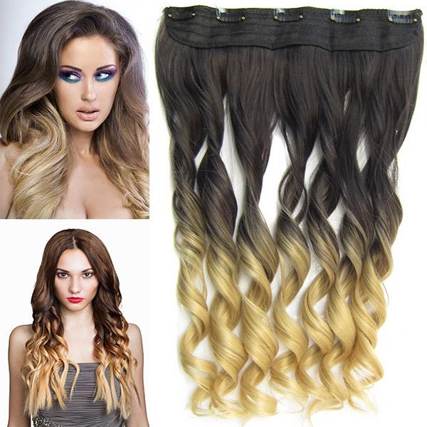 Clip in pás vlasů - lokny 55 cm - ombre - odstín 2 T 22