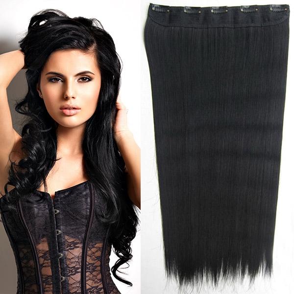 Světové zboží Clip in vlasy - 60 cm dlouhý pás vlasů - odstín 1# - 1# (uhlově černá)