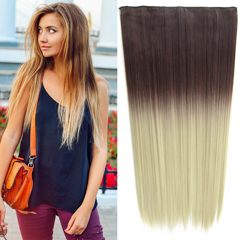 Clip in vlasy - 60 cm dlouhý pás vlasů - ombre styl - odstín 4 T Khaki