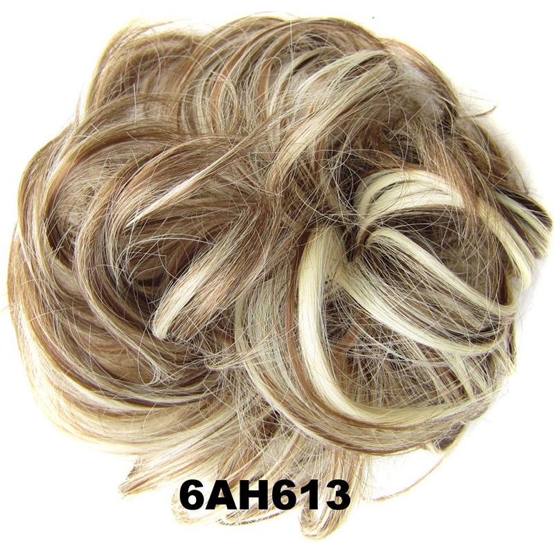 Příčesek - drdol na gumičce - 6AH613 (melír nugátově hnědé v beach blond)