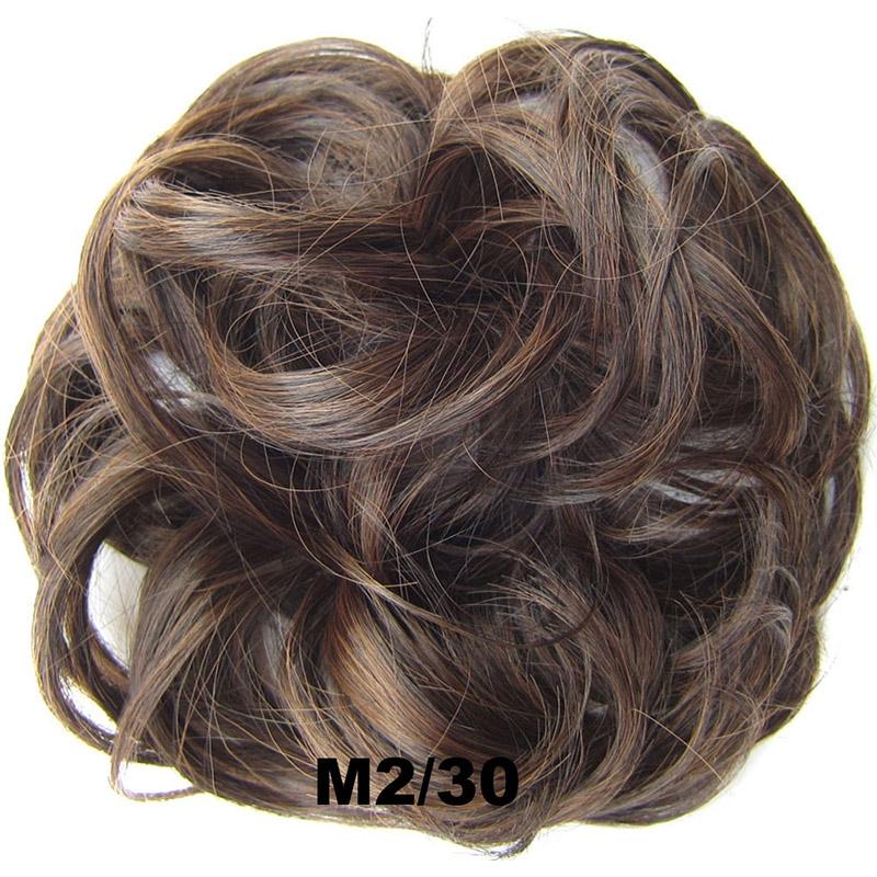 Příčesek - drdol na gumičce - M2/30 (mix tmavá pralinka/světlý kaštan)