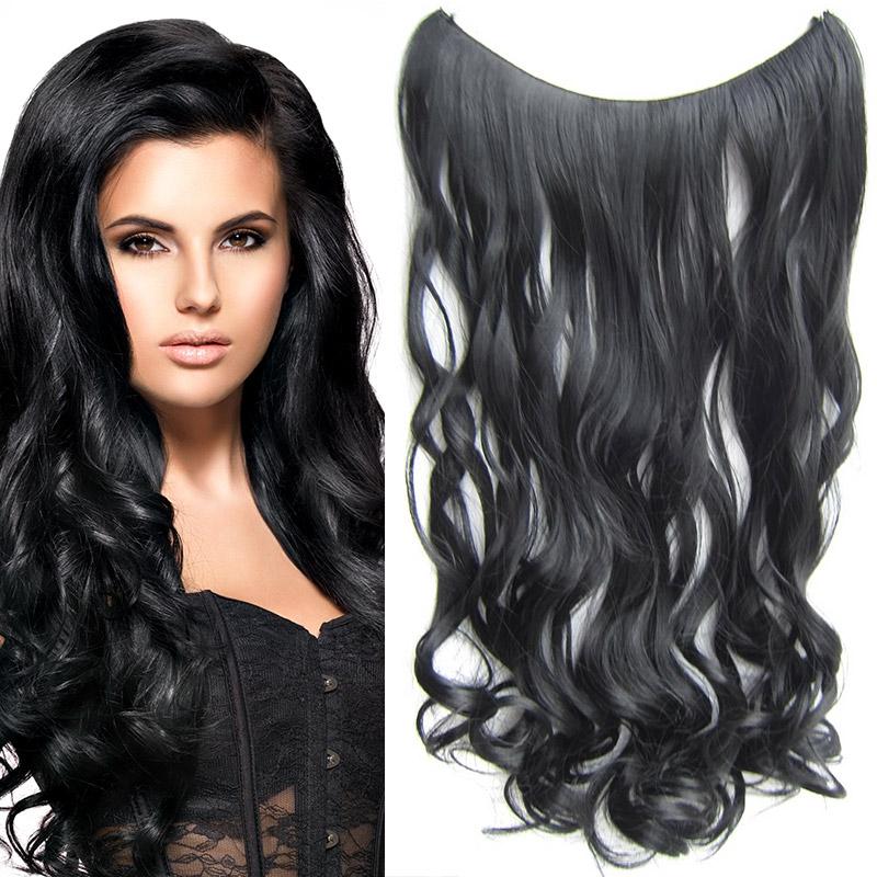 Flip in vlasy - vlnitý pás vlasů 55 cm - odstín 1#