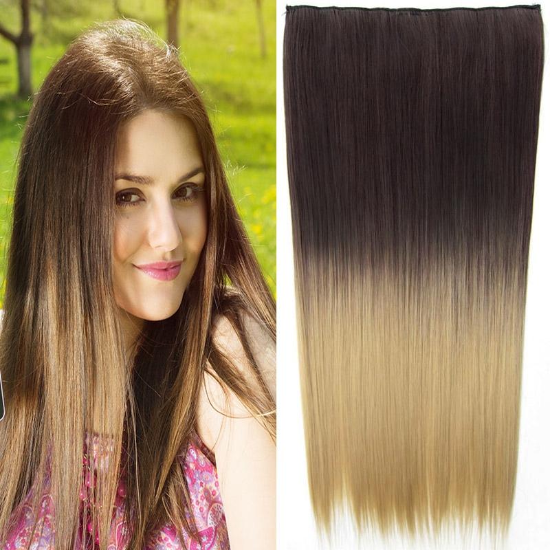 Clip in vlasy - 60 cm dlouhý pás vlasů - ombre styl - odstín 6A T 24