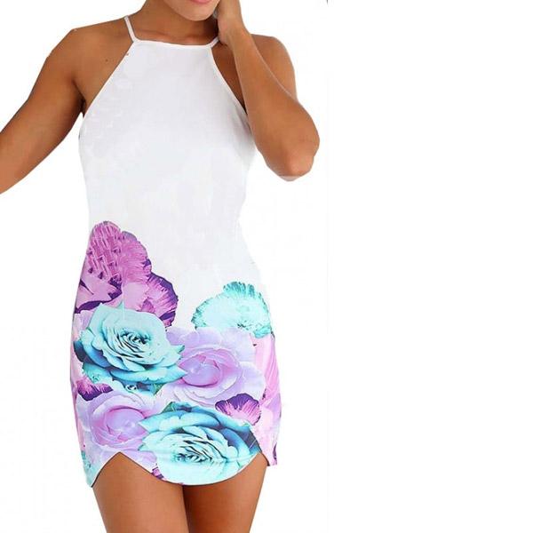 3291e491122 ... Dámská móda a doplňky - Dámské letní mini šaty s potiskem růží ...