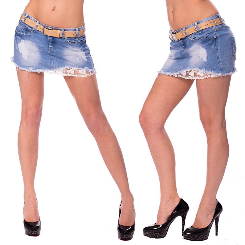 Dámská riflová sukně s krajkou a opaskem - velikost 25