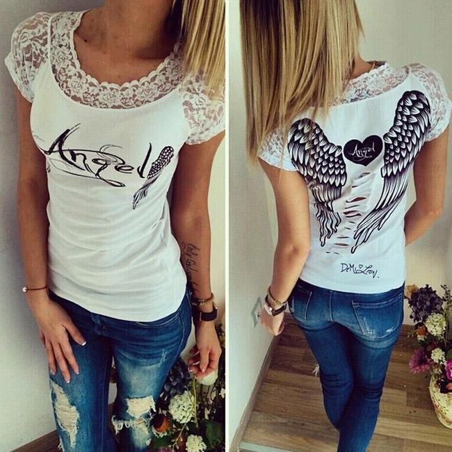 V&V Dámské tričko Angel - bílé - L
