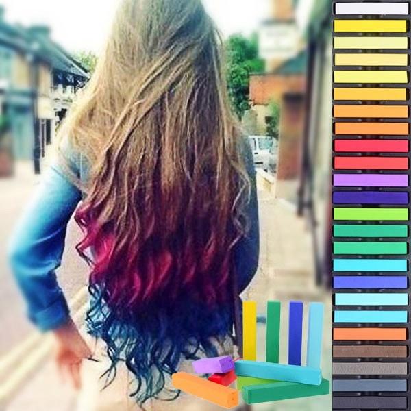 Barevné křídy na vlasy - sada 24 ks