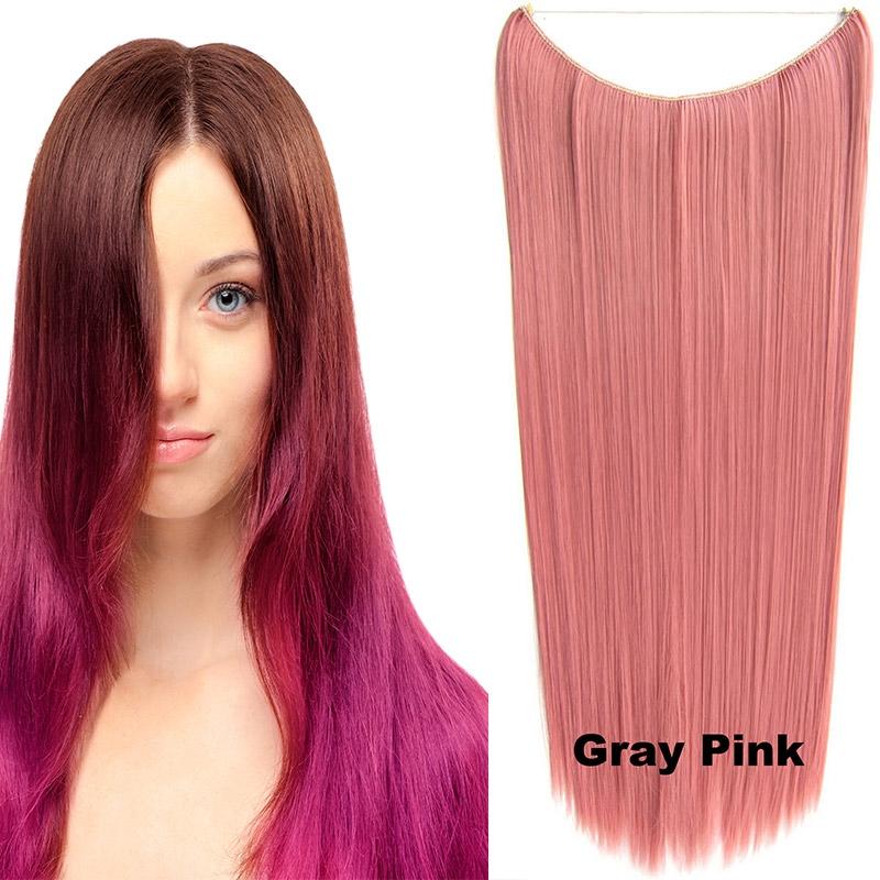 Flip in vlasy - 60 cm dlouhý pás vlasů - odstín Gray Pink