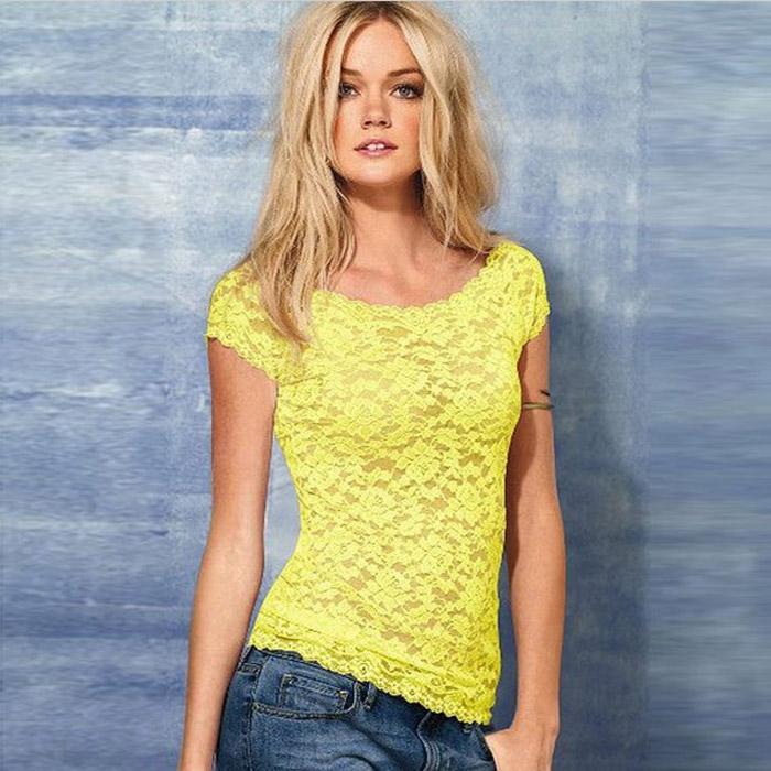 Dámská móda a doplňky - Dámský krajkový top - tričko - žluté aa97c030b2